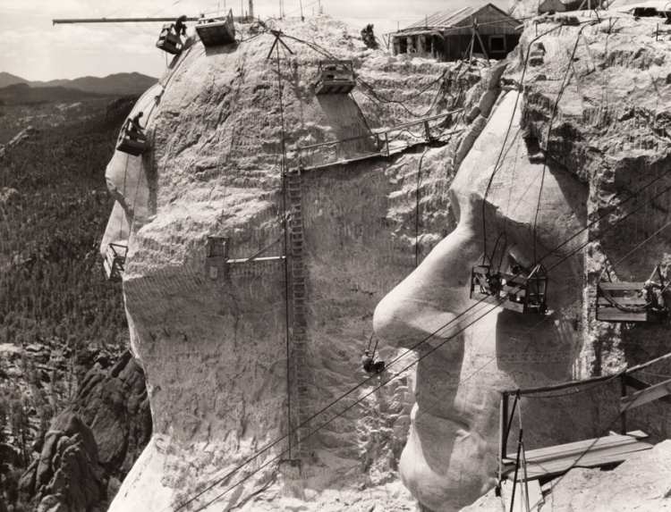 Thomas Jefferson at Mount Rushmore under construction, 1939